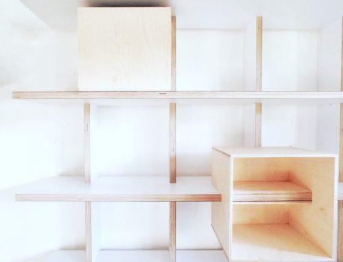 MODULAR SHELVING / cubed storage boxes